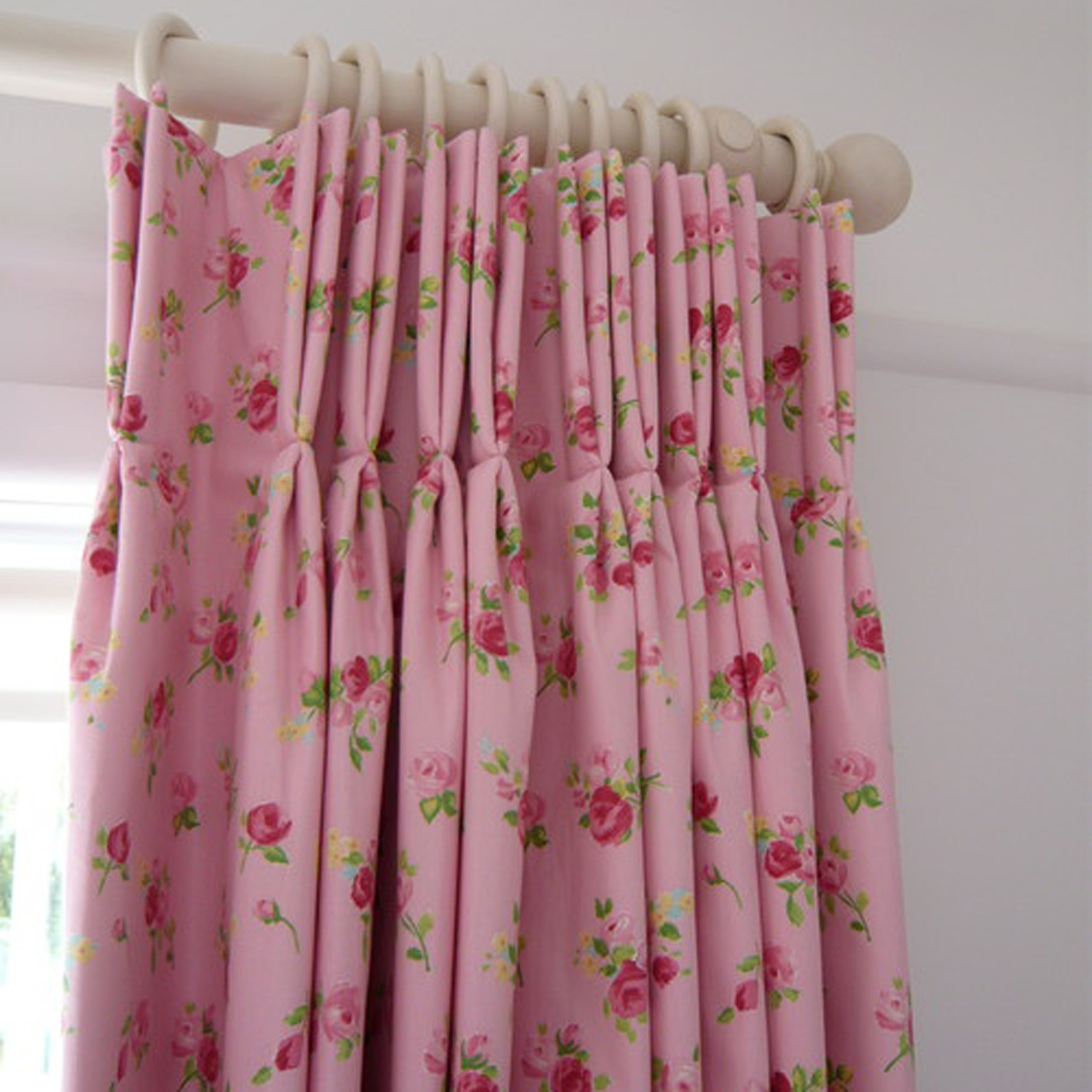 Floral Pink Double Pinch Pleat Custom Drapes