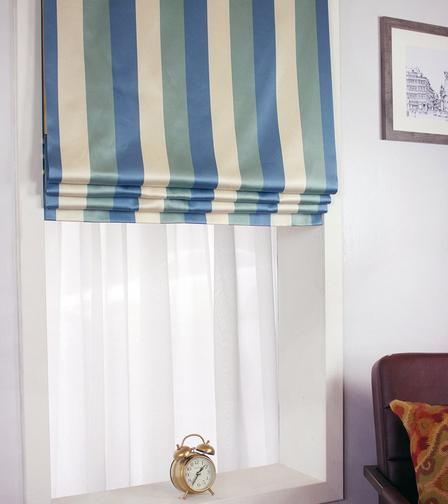 Silk Striped Fake Roman Shades For Bedroom