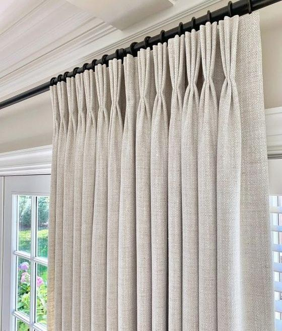 Pinch Pleat Custom Curtains With Blackout Lining