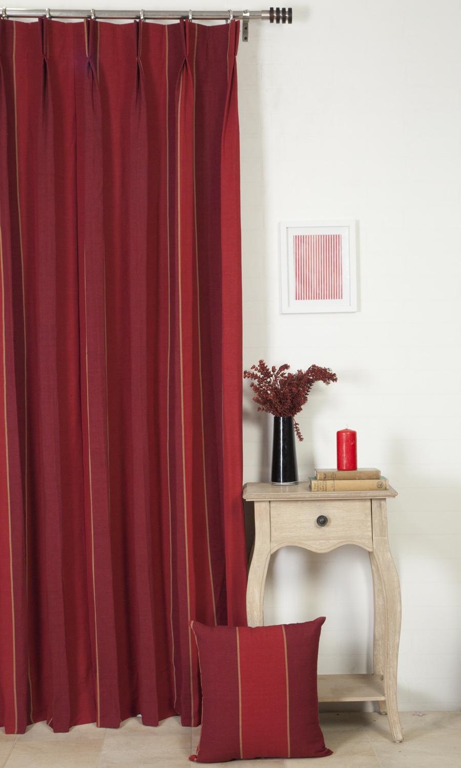 Red Striped Knife Edge Cushions & Drapers