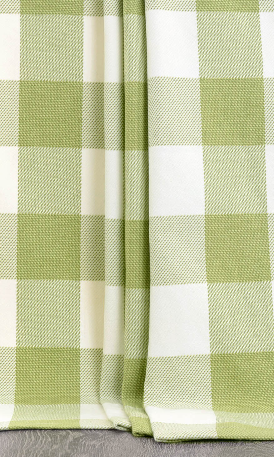 White & Green Checked Custom Extra Long Curtains