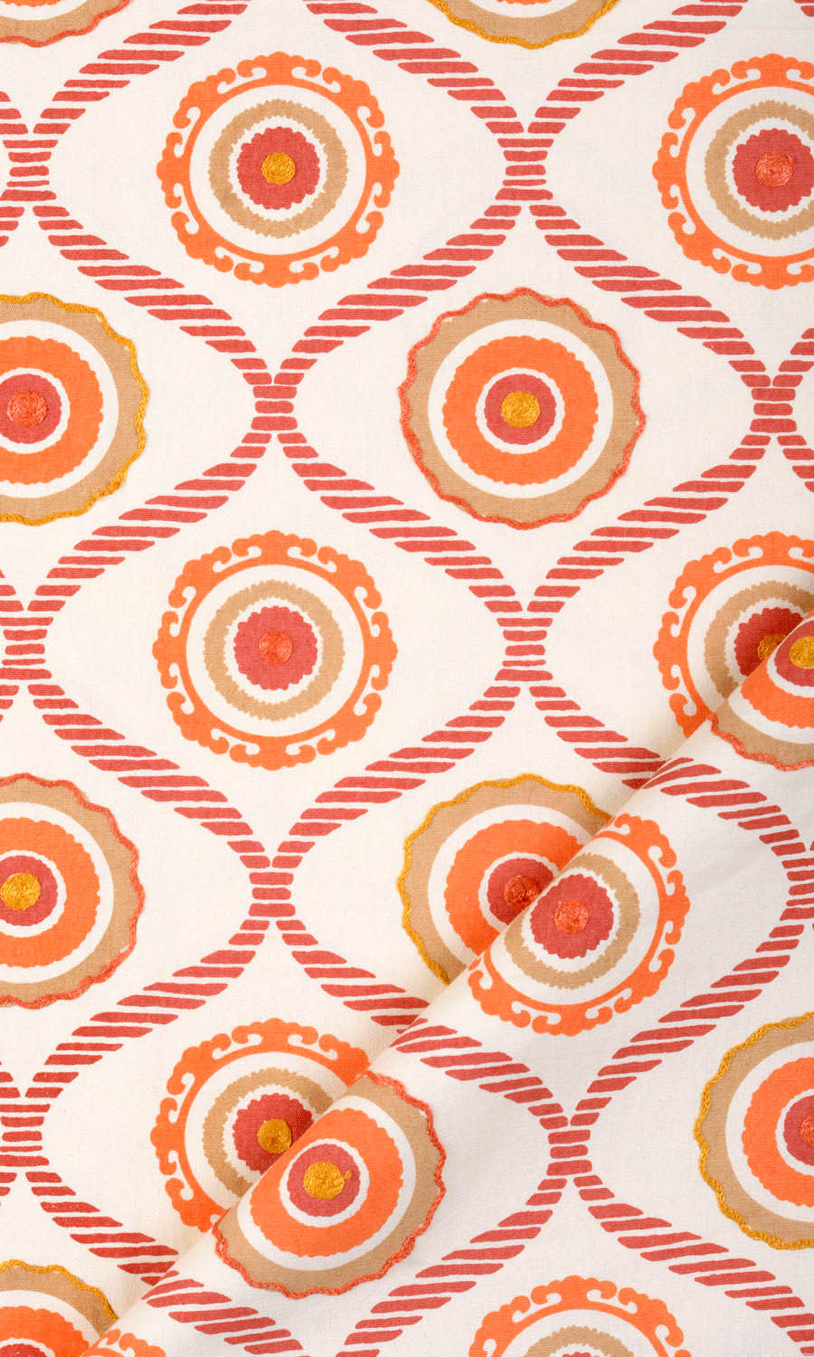 Orange Cotton Printed Custom Drapes
