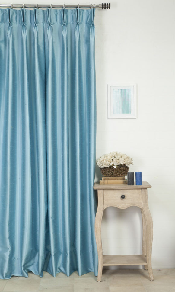 Blue Silk Wide Custom Curtains