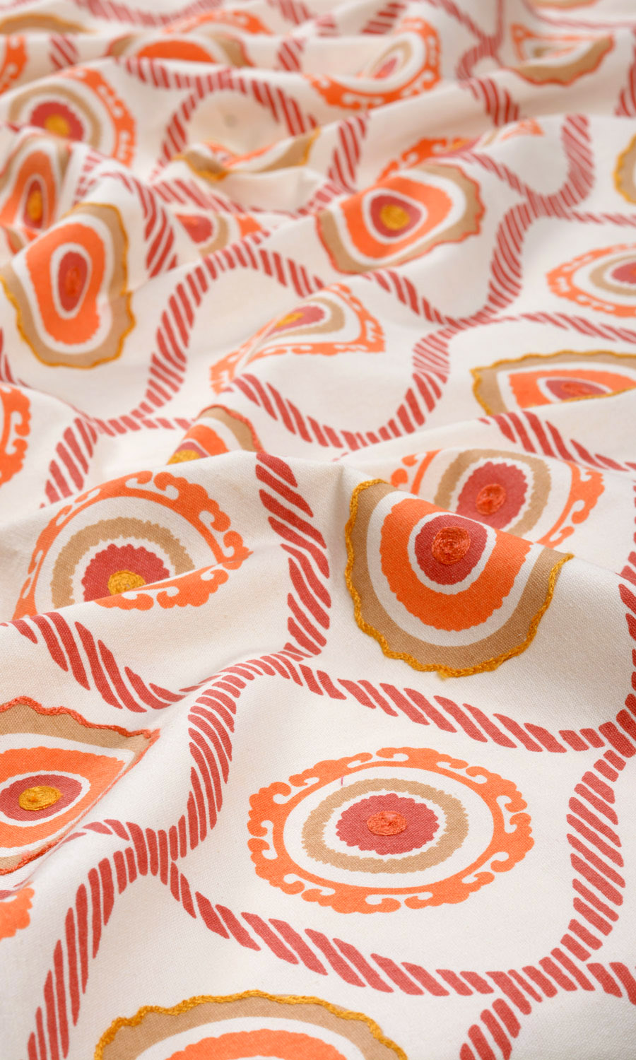 Orange Cotton Printed Custom Drapes For Dining Room