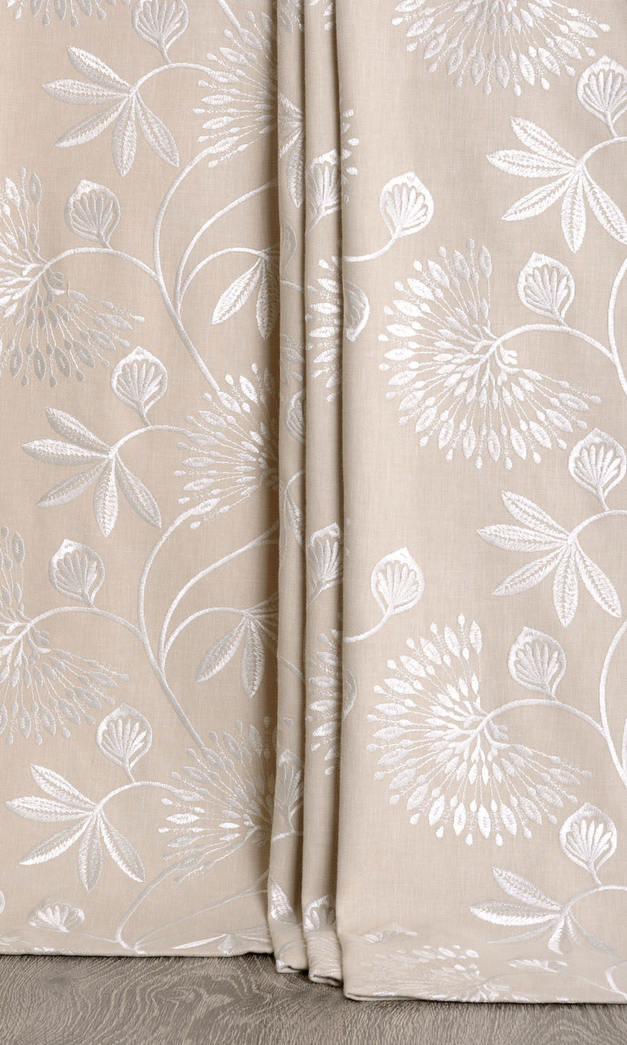 Floral Embroidery Extra Long Curtains