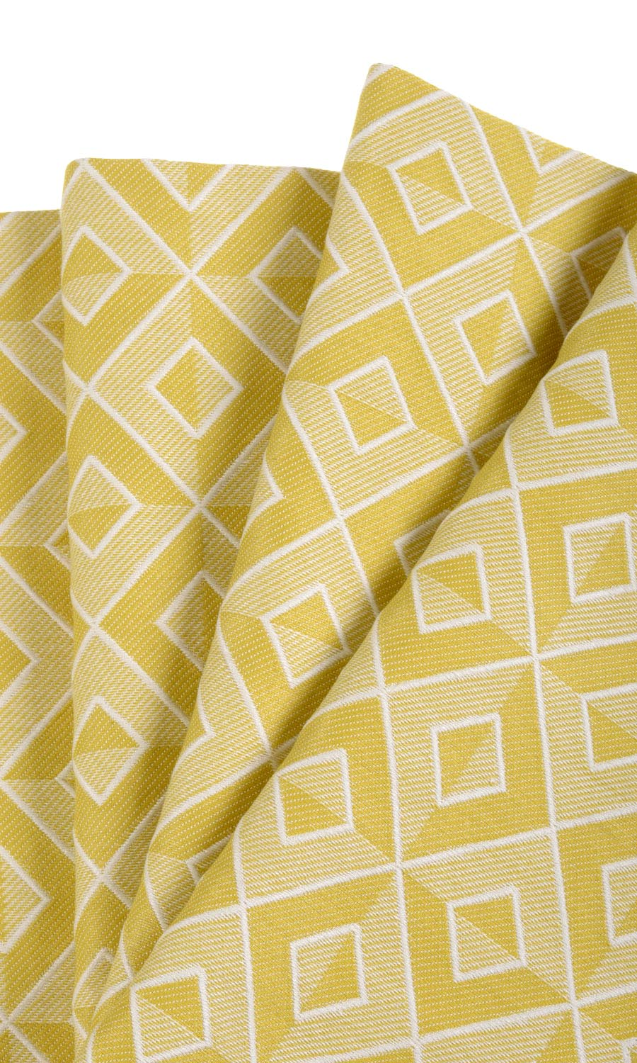 Yellow Cotton Geometric Custom Drapes For Bedroom