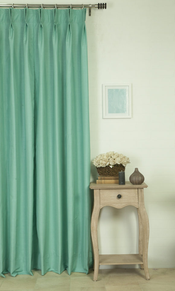 Green Silk Double Pinch Pleat Custom Shade