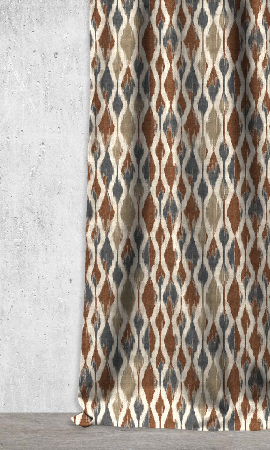 Printed Ikat Extra Long Custom Curtains