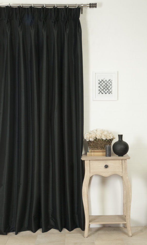 Black Silk Extra Long Custom Drapes