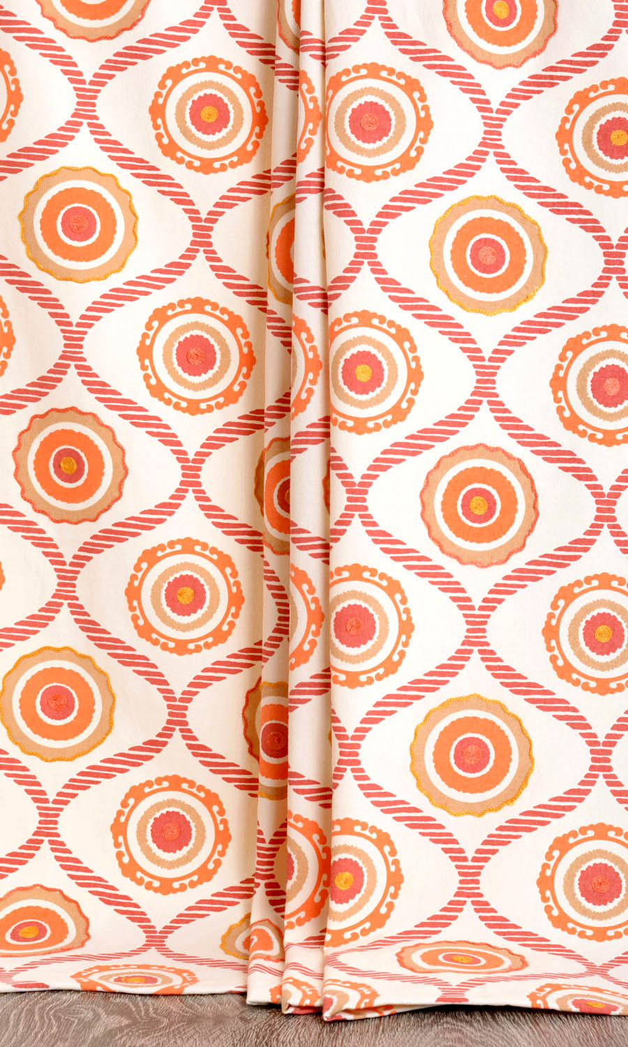 Orange Cotton Printed Narrow Custom Curtains