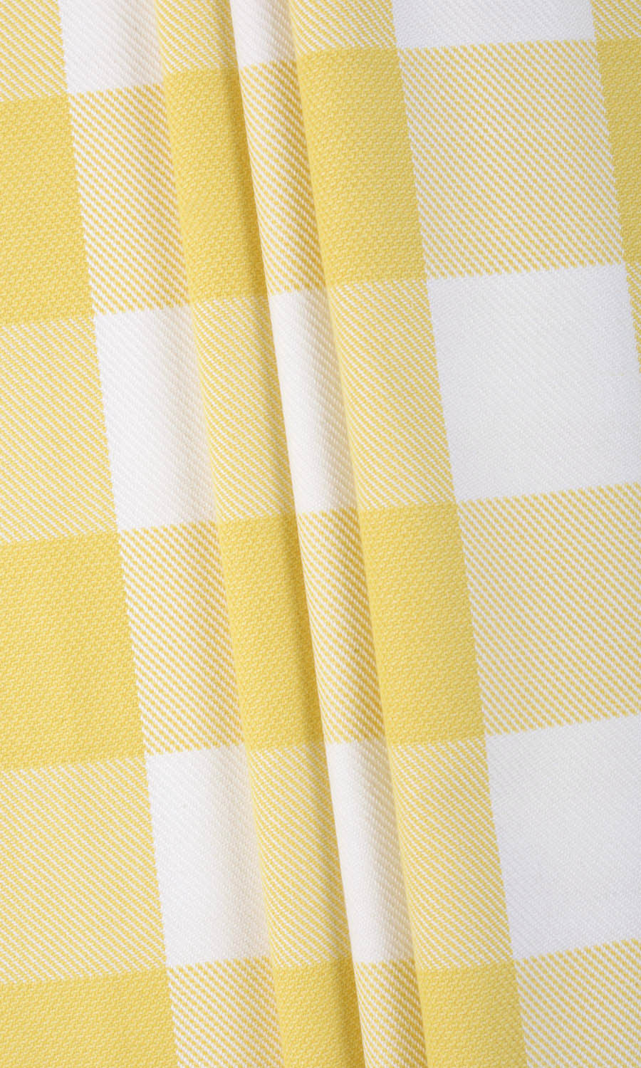 Yellow Checked Custom Curtains For Living Room