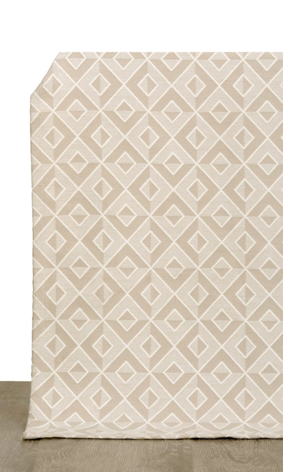 Beige Geometric Extra Long Custom Curtains