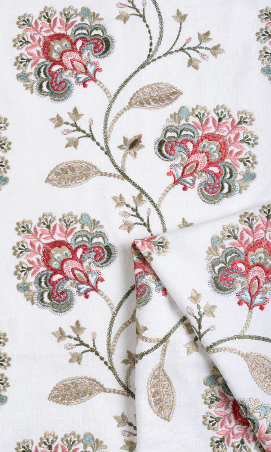 White Floral Patterned Drapes