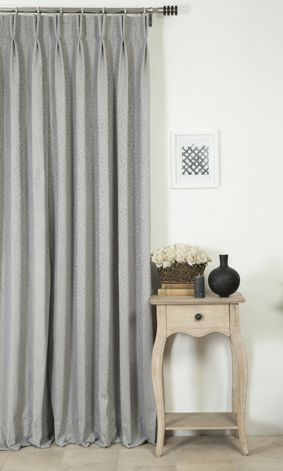 Grey Double Pinch Pleat Custom Drapery
