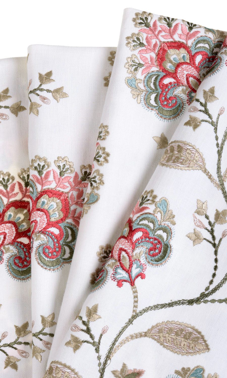 White Floral Patterned Roman Shades