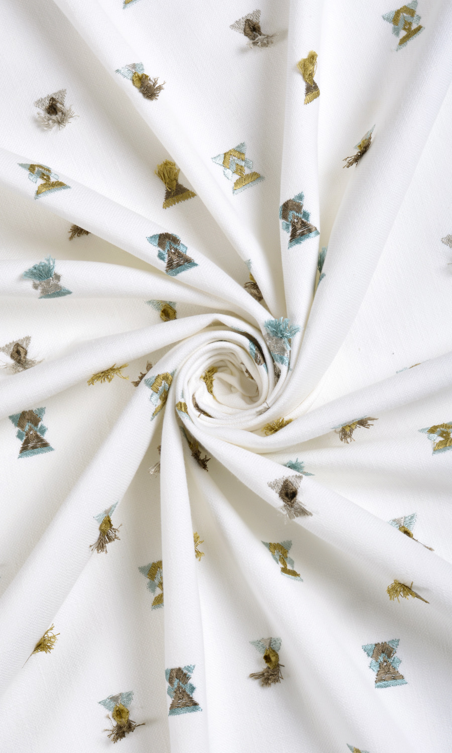 White Floral Embroidery Custom Size Drapes