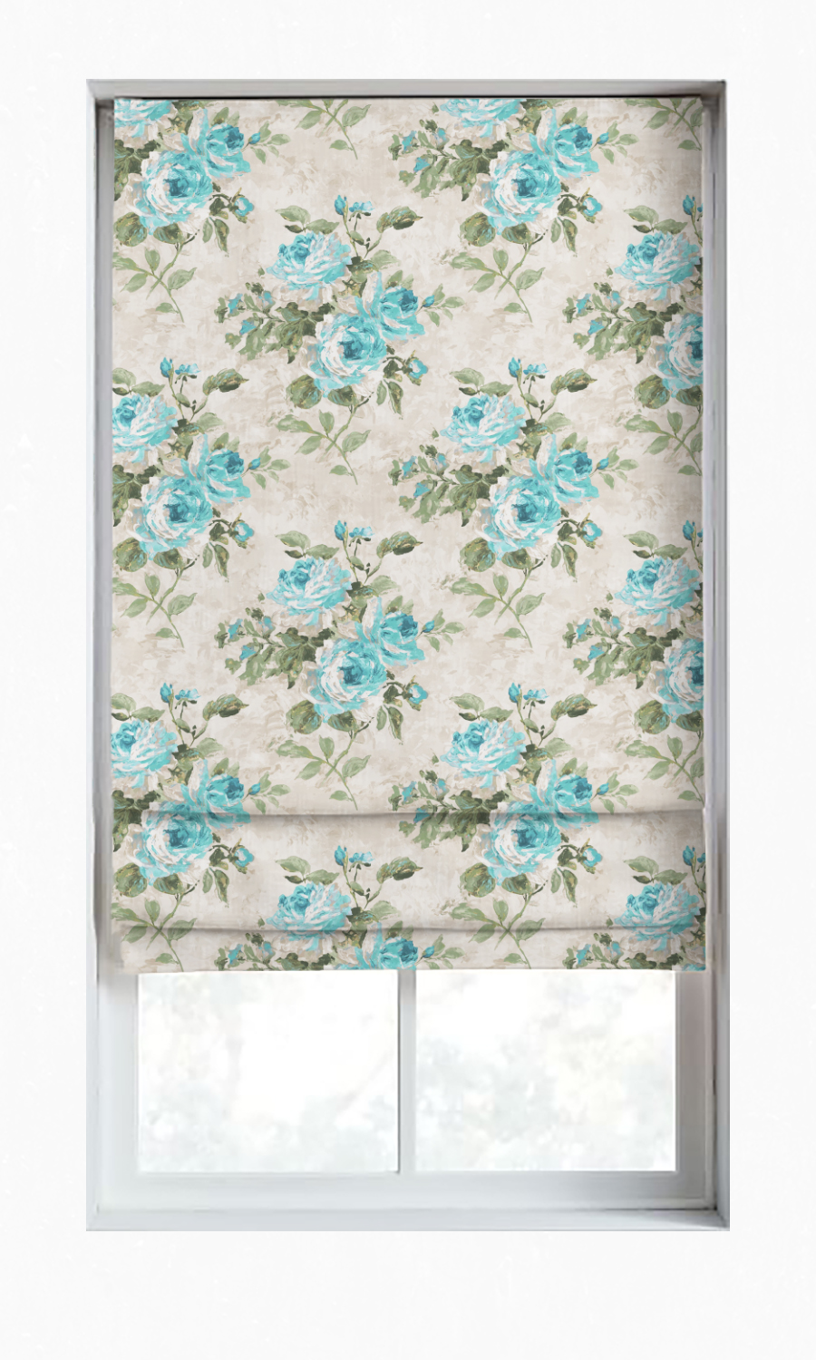 Floral Printed Custom Roman Blinds For Kitchen