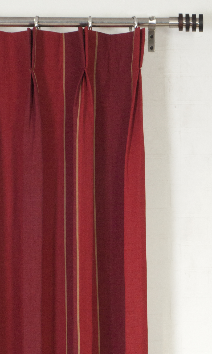 Red Double Pinch Custom Curtains