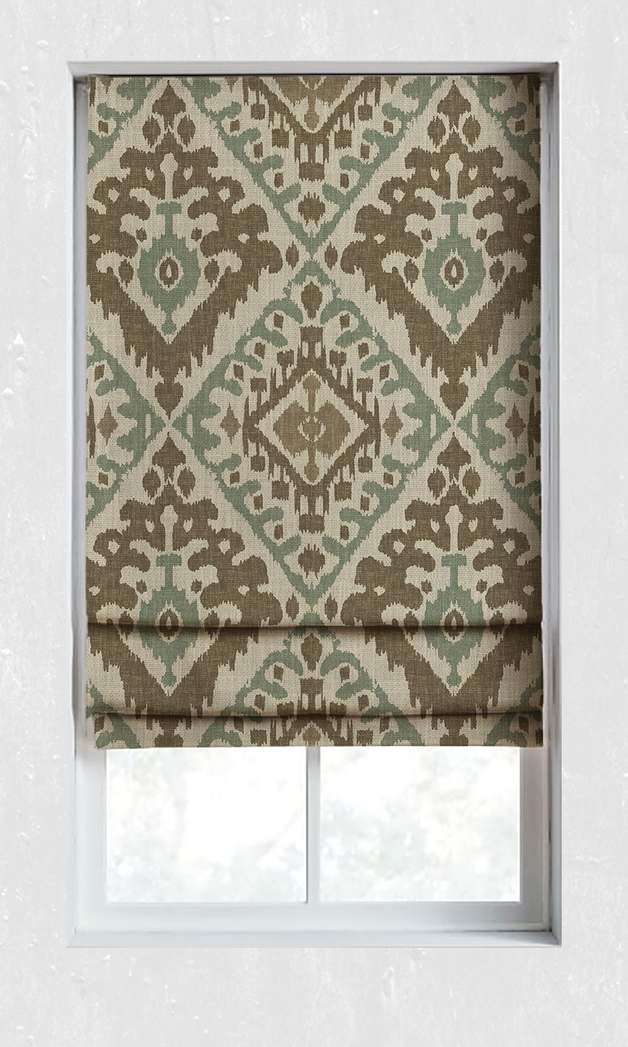 Printed Ikat Custom Roman Blinds For Living Room