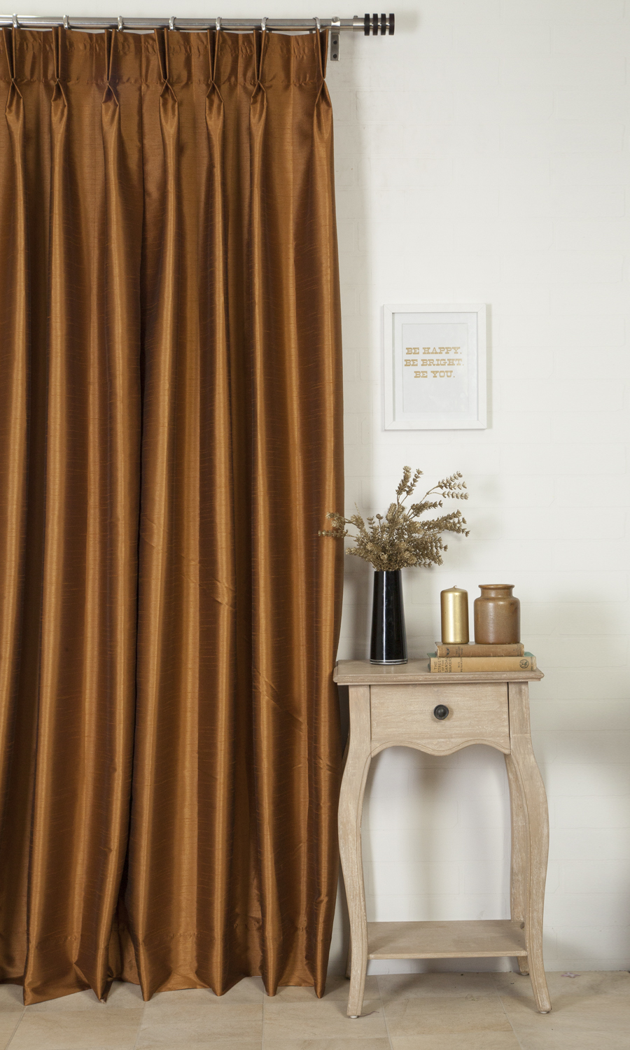 Brown Silk Custom Drapes For Dining Room