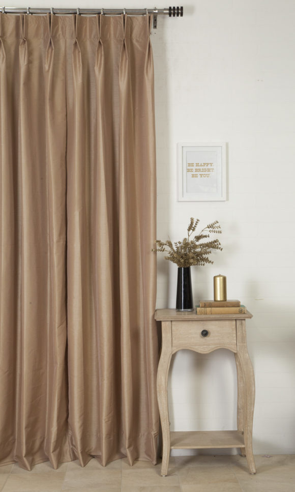 Brown Silk Custom Drapery & Roman Blinds