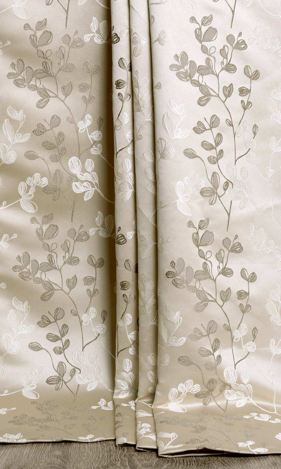 Floral Beige Extra Long Custom Curtain
