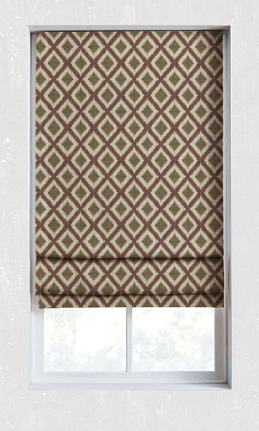Printed Ikat Custom Roman Blinds For Kitchen