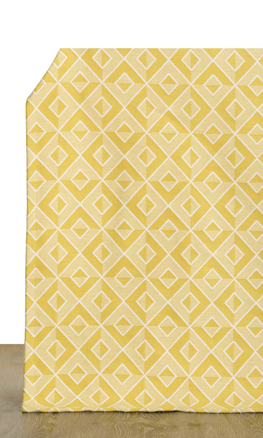 Yellow Cotton Geometric Custom Drapes For Dining Room
