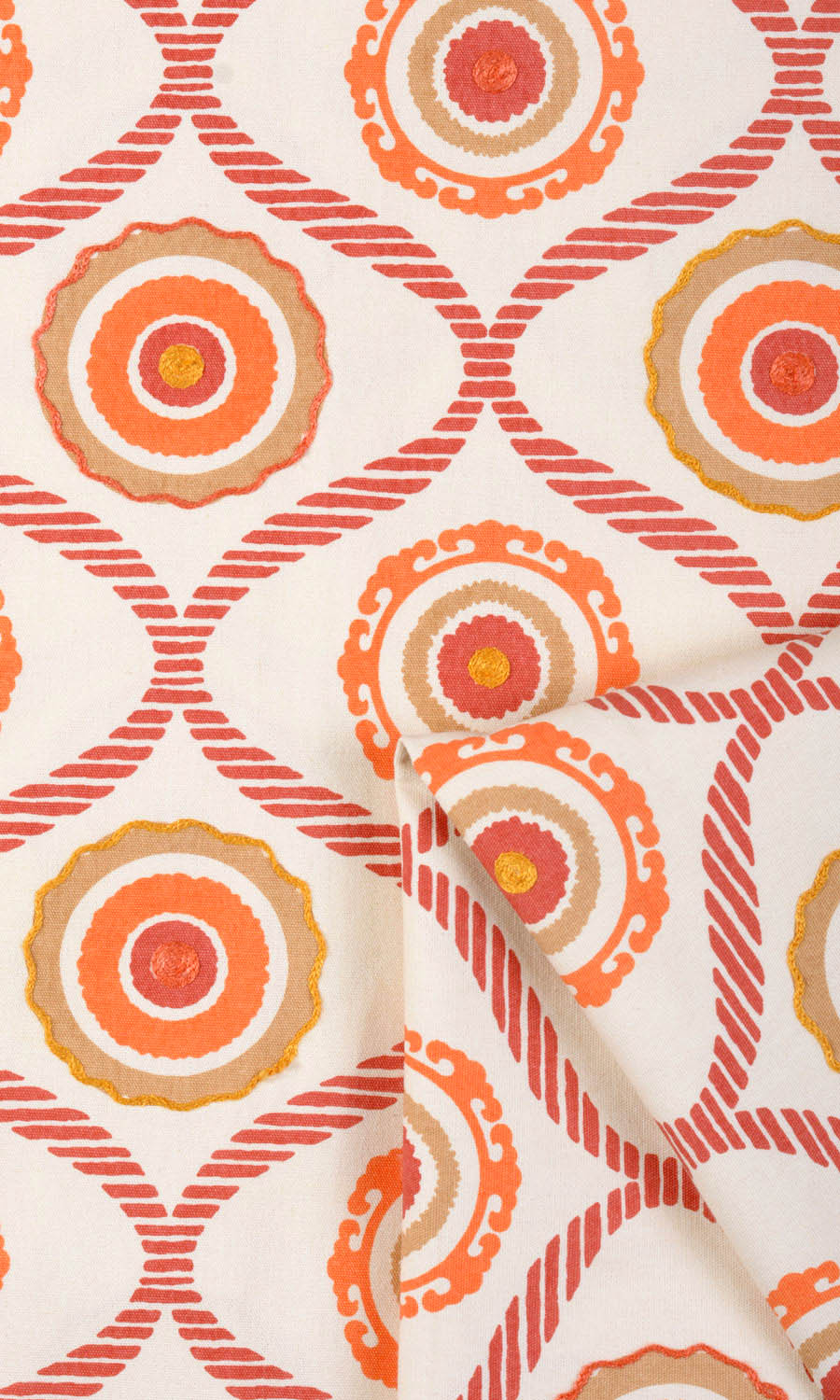 Orange Cotton Custom Drapes For Bedroom