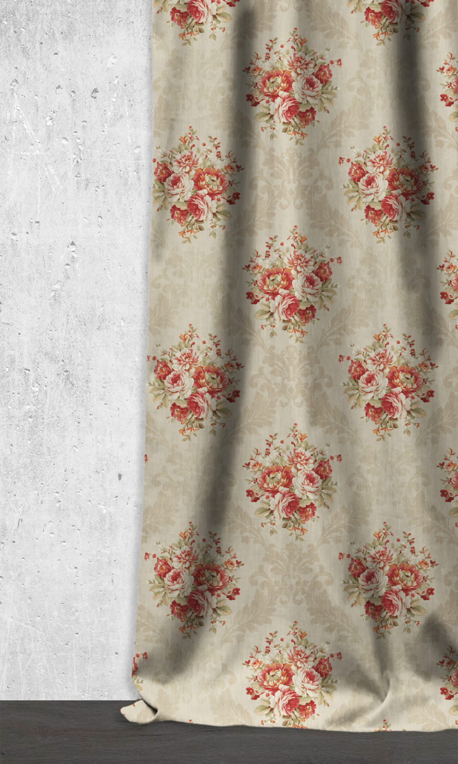 Royal Beige & Floral Printed Extra Long Custom Curtains