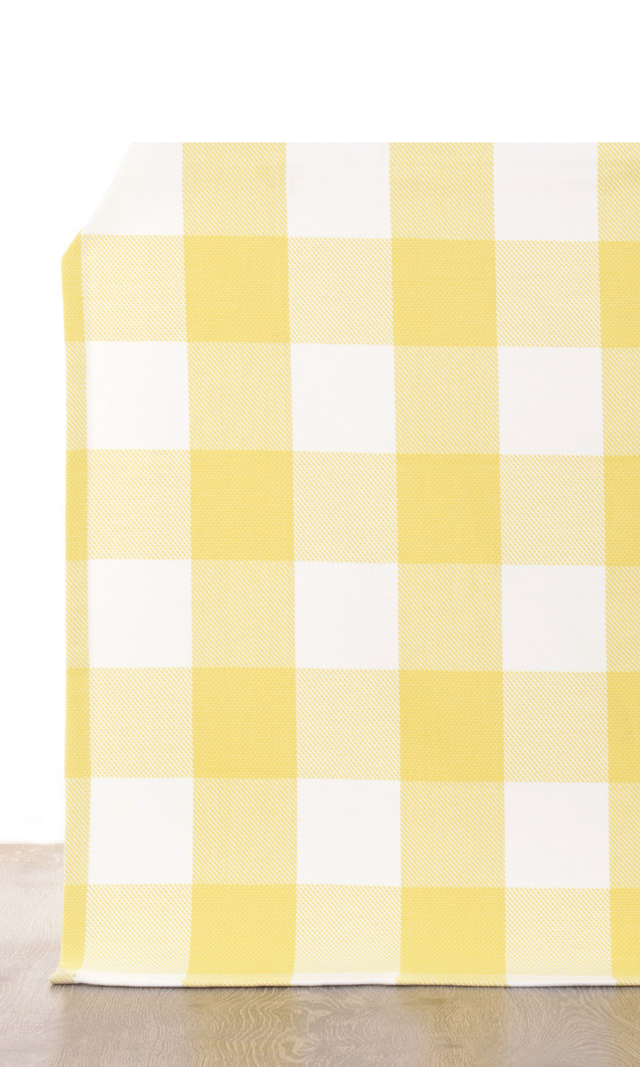 Yellow Checked Custom Drapes For Bedroom