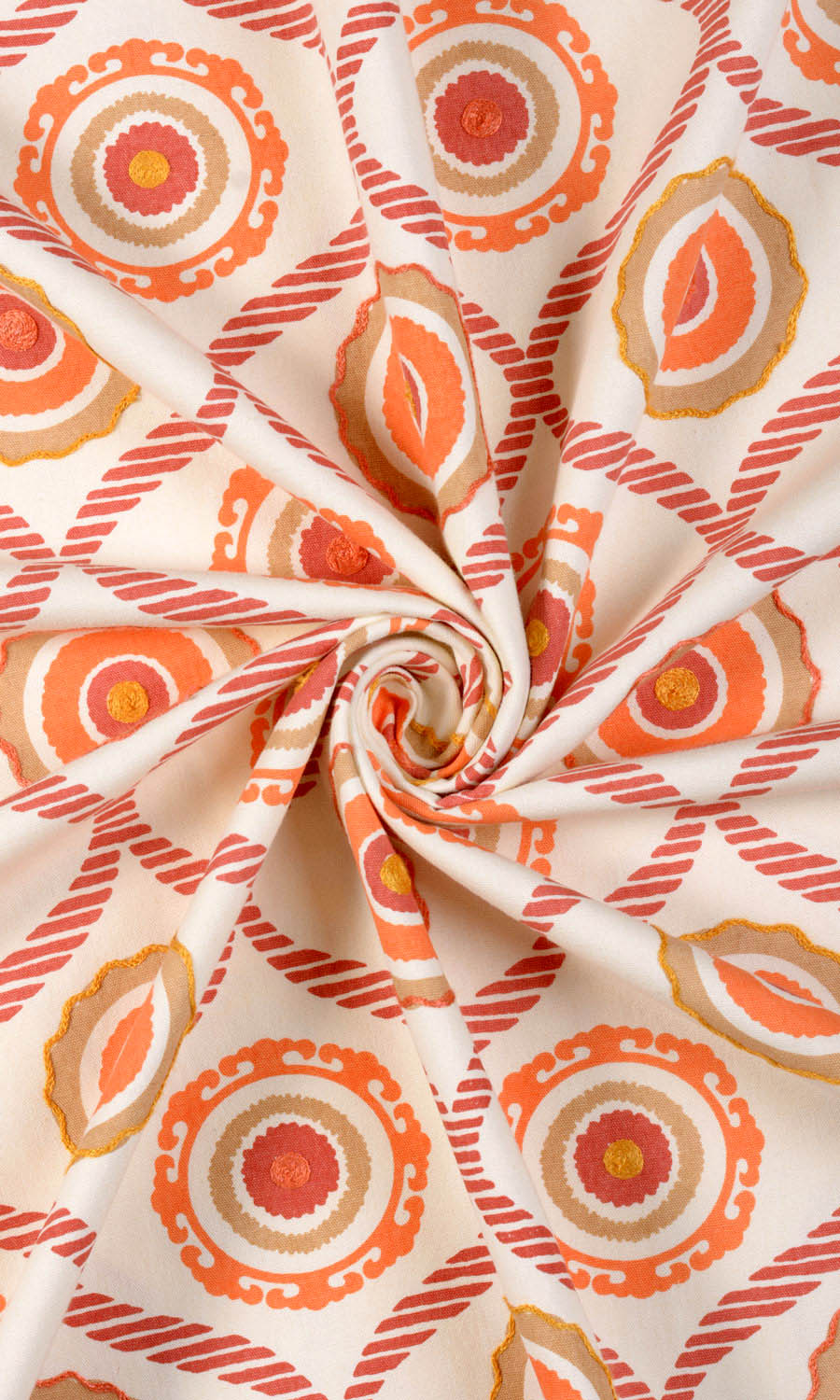 Orange Cotton Custom Drapery & Roman Blinds