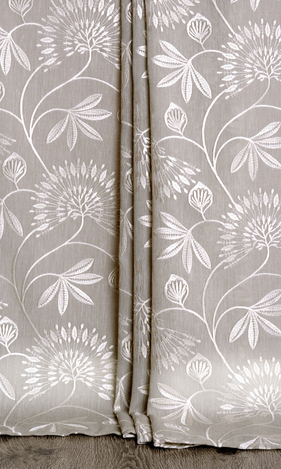 Floral Embroidery Extra Long Drapes