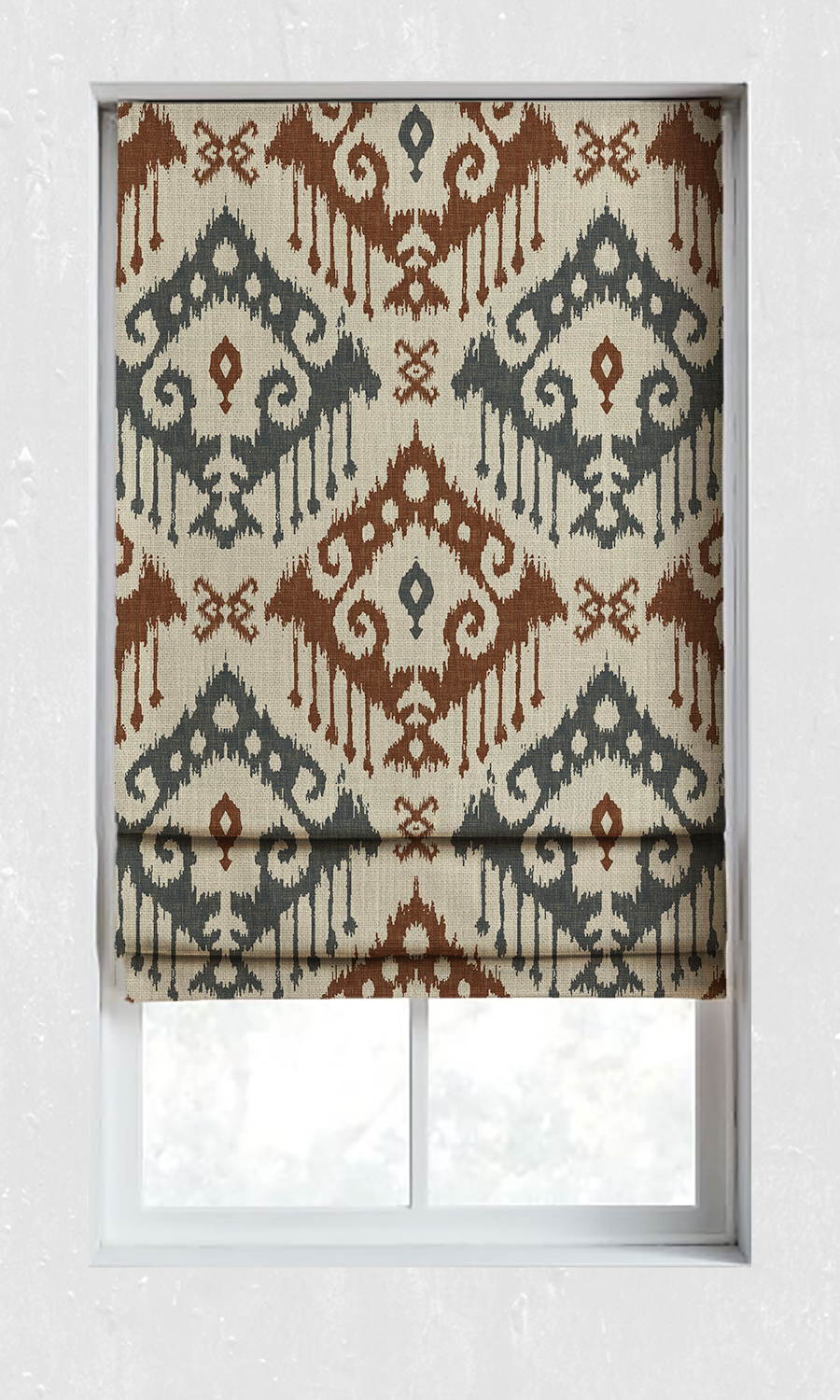 Printed Ikat Custom Roman Blinds For Bedroom