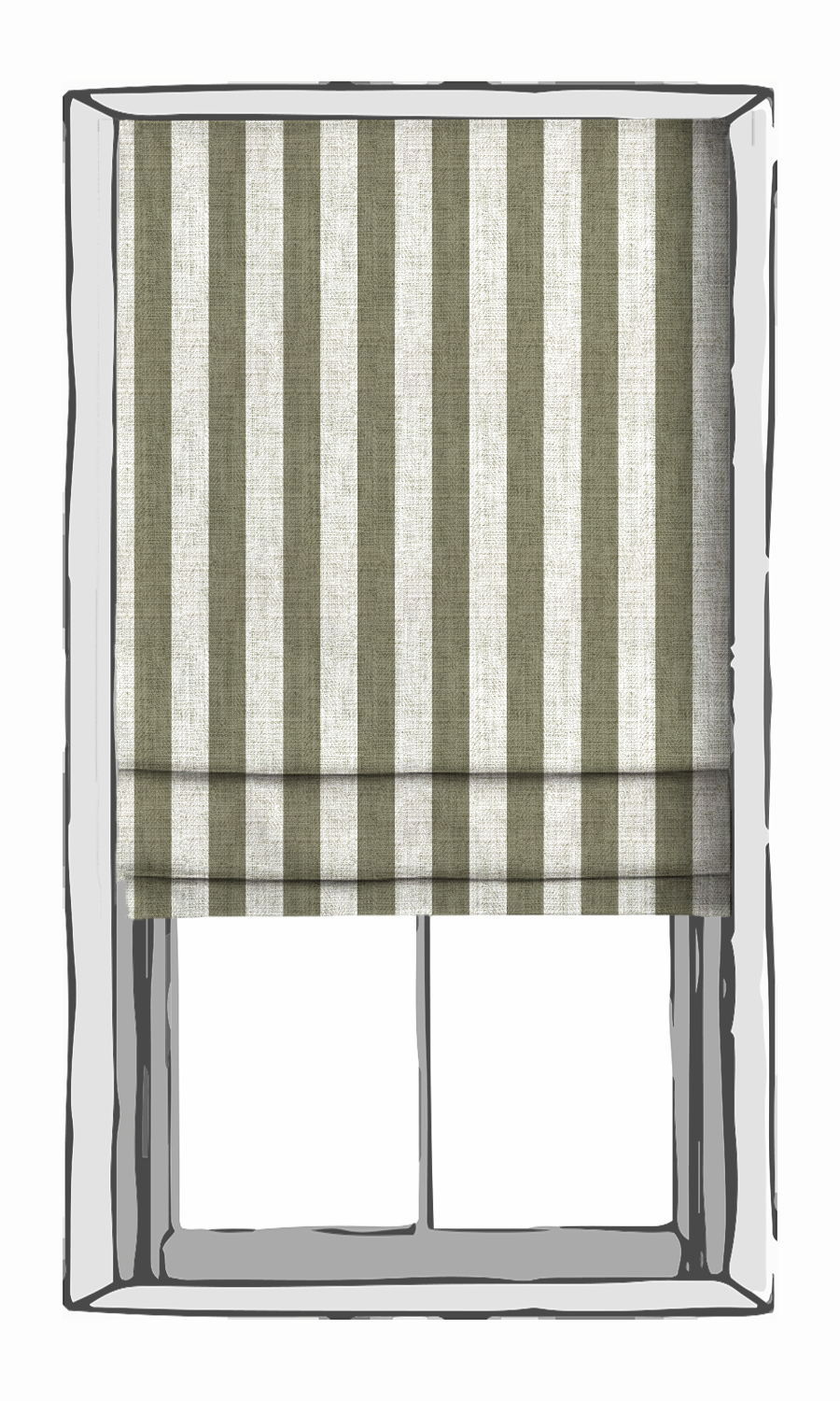 Green and White Striped Roman Blind