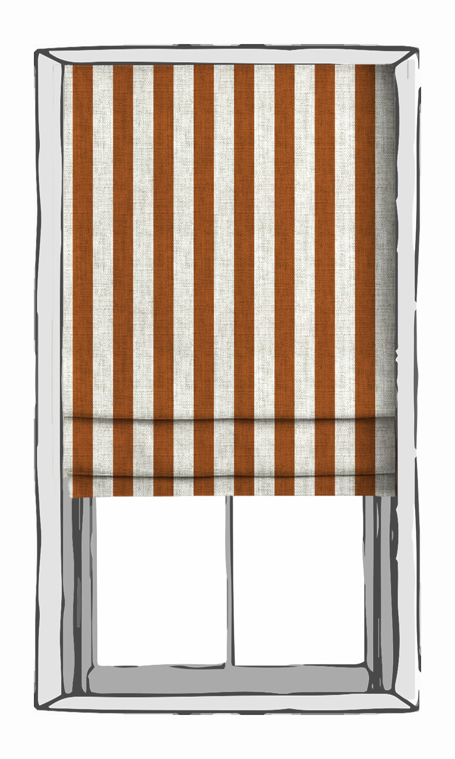 Orange and White Striped Custom Roman Shade