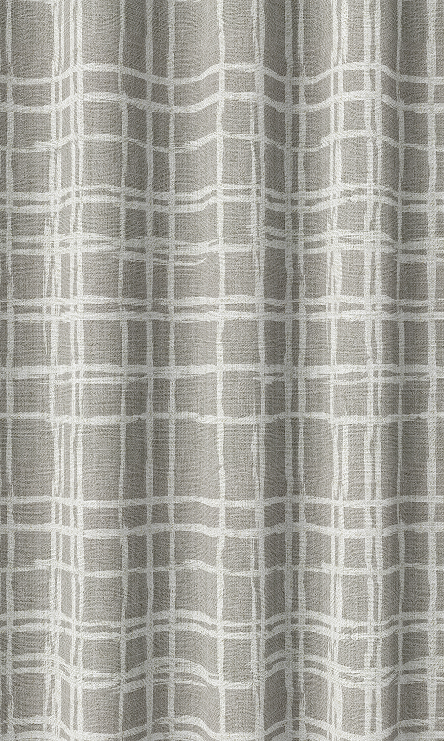 Grey Checked Wide Custom Curtains