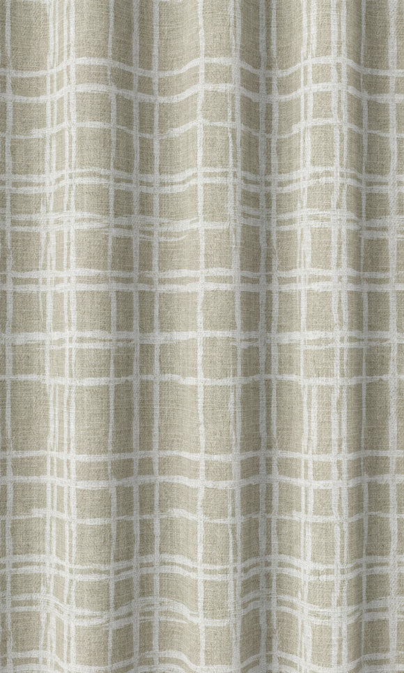 Beige Checked Narrow Printed Custom Curtains For Bedroom