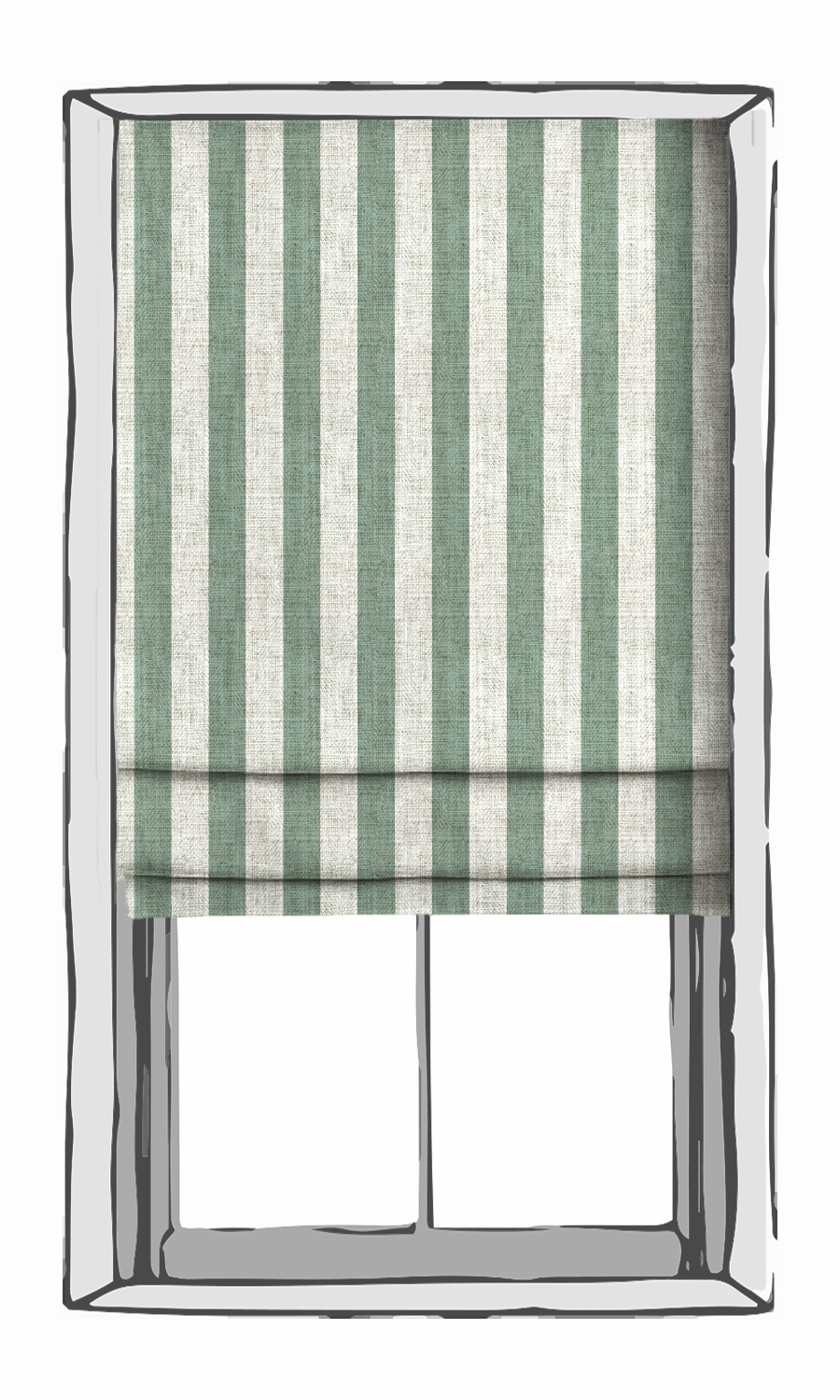 Blue and White Striped Roman Blind