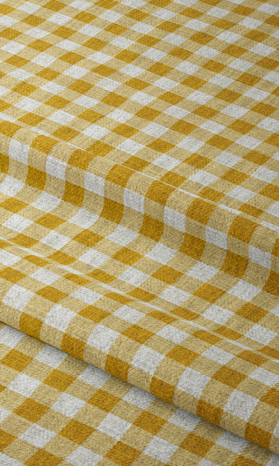 Yellow Checked Printed Custom Curtains For Bedroom