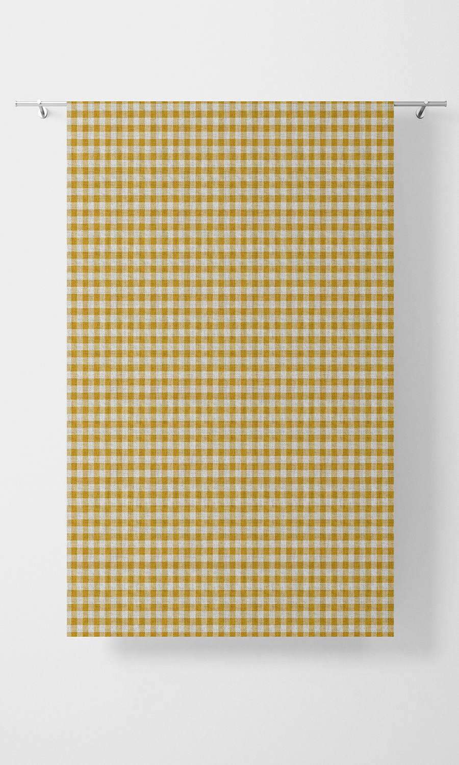 Yellow Checked Custom Window Treatments For Living Room