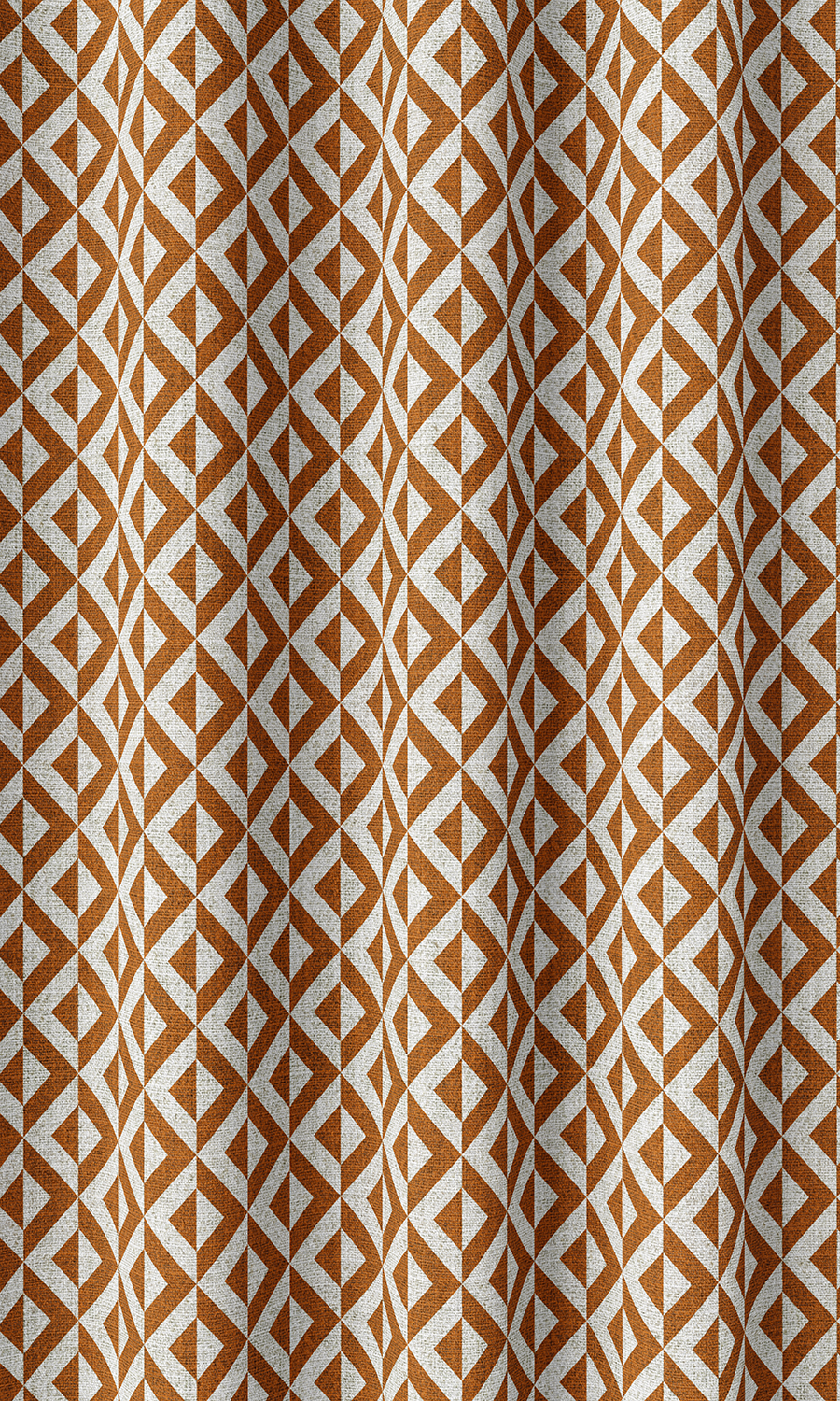 Orange Geometric Extra Long Custom Curtains For Dining Room