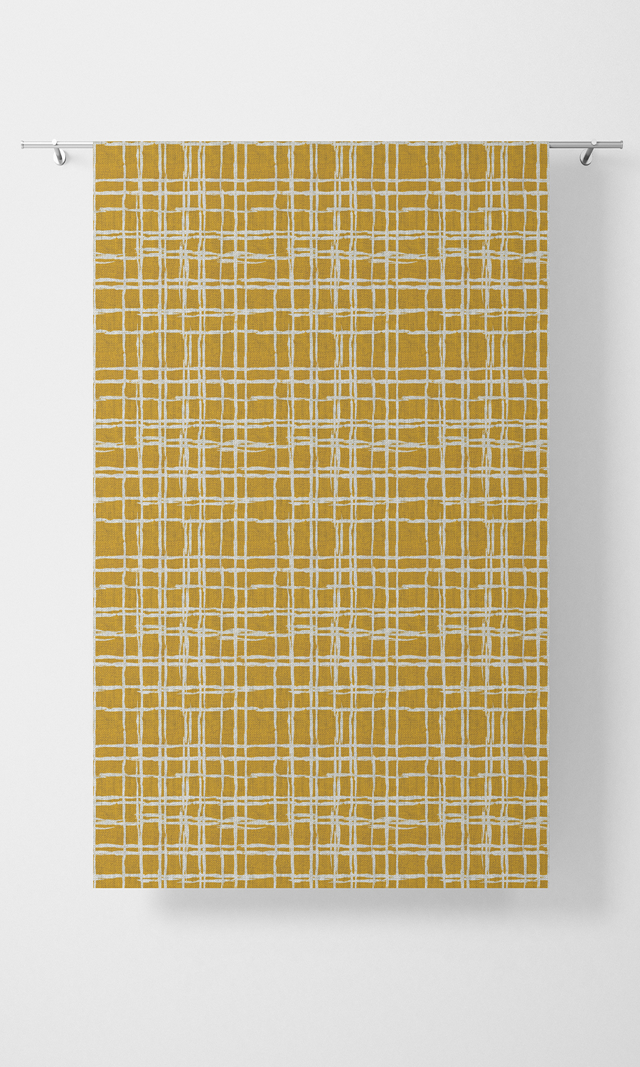 Yellow Checked Custom Roman Blinds For Bedroom