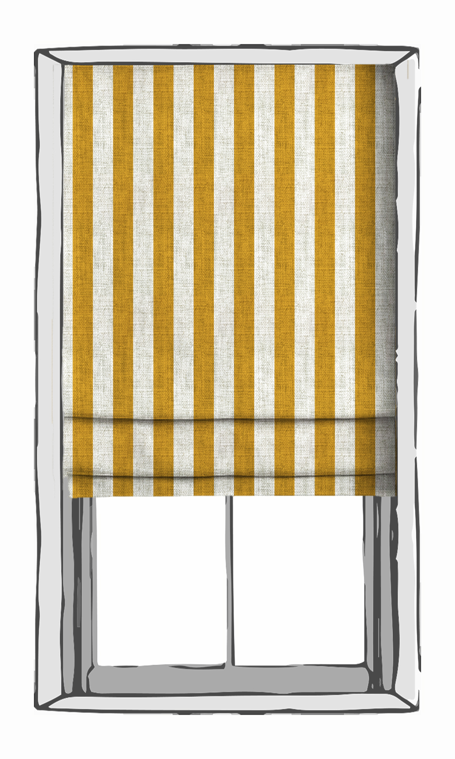 Yellow and White Striped Roman Shades
